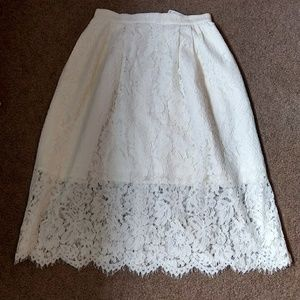 J. Crew A line floral lace midi skirt with pockets